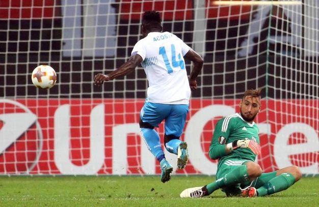Milan-Rijeka, Acosty segna il gol del 2-1 (foto Ansa)