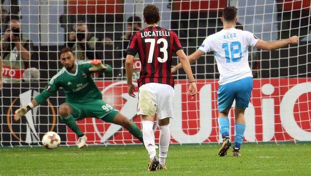 Milan-Rijeka, Elez segna il gol del 2-2 (foto Ansa)