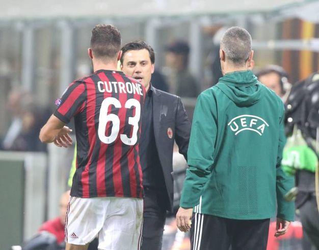 Milan-Rijeka, Cutrone esulta dopo il gol del 3-2 che fa vincere i rossoneri (foto Newpress)
