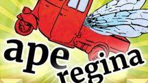 Il logo ormai noto del progetto Ape Regina, il teatro su ruote
