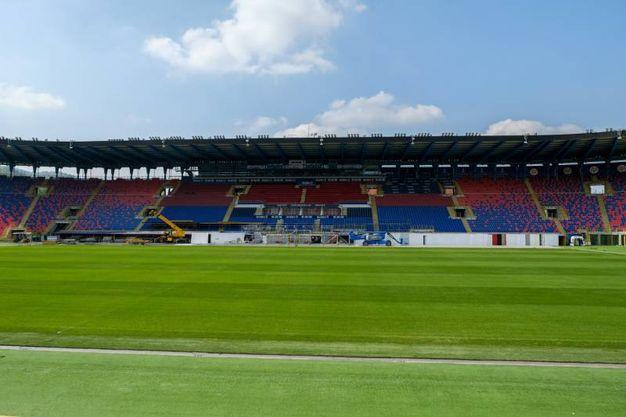 Visita del Papa a Bologna, la costruzione del palco allo stadio Dall'Ara (foto Schicchi)