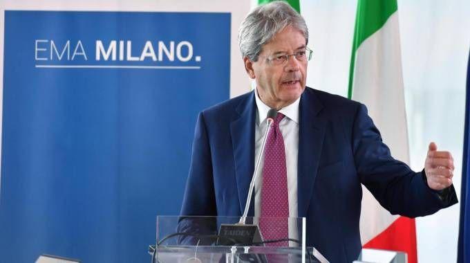 Il premier Paolo Gentiloni alla presentazione del dossier di candidatura di Milano (Ansa)