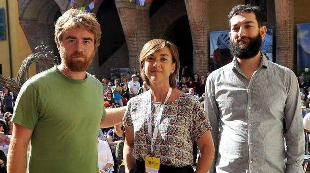 Paolo Cognetti con Daria Bignardi e Vasco Brondi (foto BusinessPress)