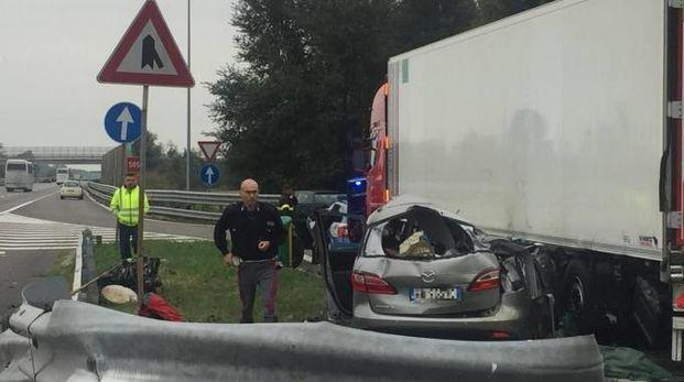 L'incidente mortale sull'A21 (Ansa)