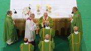 Bergoglio distrubuisce l'eucarestia (Schicchi)