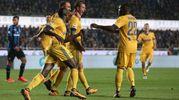 Esultanza per il gol di Bernardeschi della Juventus 0-1 (Ansa)