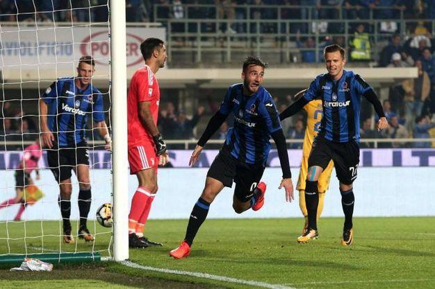 Esultanza per il gol di Cristante dell'Atalanta 2-2 (Ansa)