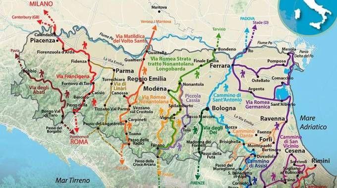 La mappa delle vie dei pellegrini che attraversano la regione