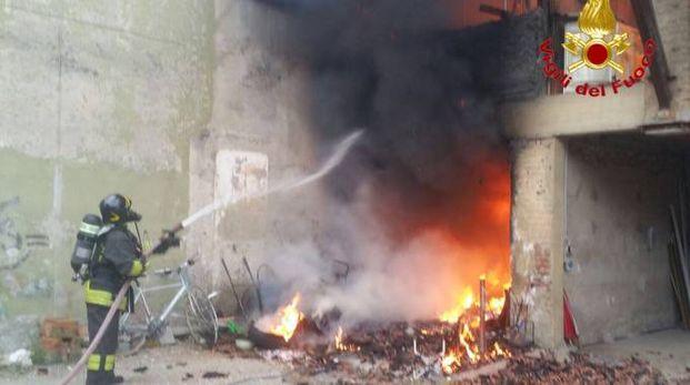 Incendio in un cascinale a Pantigliate