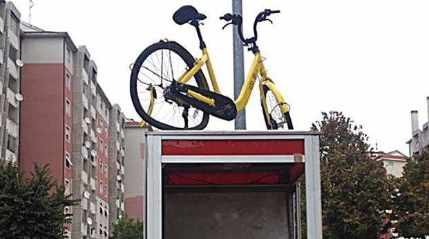 La bicicletta abbandonata sopra la cabina telefonica (Mdf)