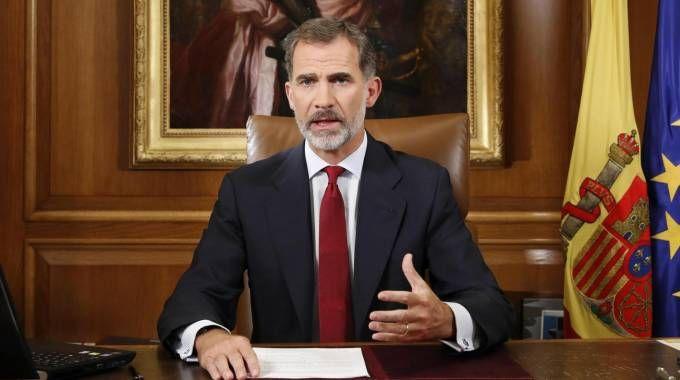 Re Felipe VI di Spagna nel suo discorso alla Nazione (Ansa)