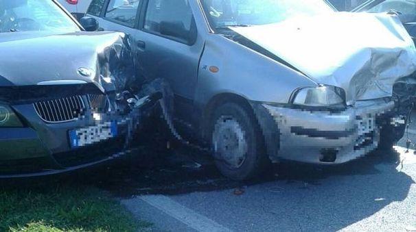 Due delle auto coinvolte nell'incidente (foto Zeppilli)
