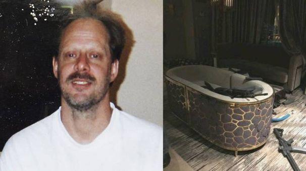 A sinistra il killer di Las Vegas Stephen Paddock. Accanto la stanza peina di armi (Ansa)