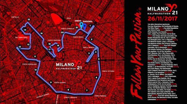 Il percorso della Milano21, la mezza maratona che si correrà il 26 novembre a Milano