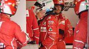 Vettel esce dalla sua monoposto (Afp)