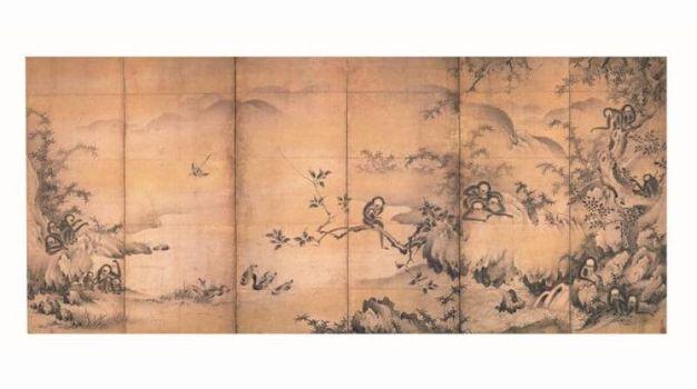 Scimmie che giocano lungo un torrente di montagna-Shikibu Terutada