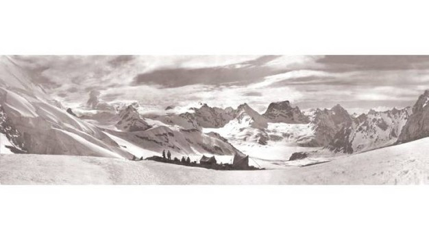 Tramonto al campo m. 5550, valle Durung-Drung (cfr. Himalaya Cashmiriano, Rizzoli, 1930)