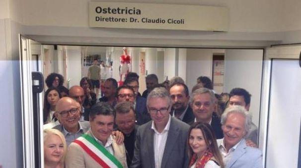 L'inaugurazione, l'anno scorso, del nuovo reparto di Ostetricia al Santa Croce