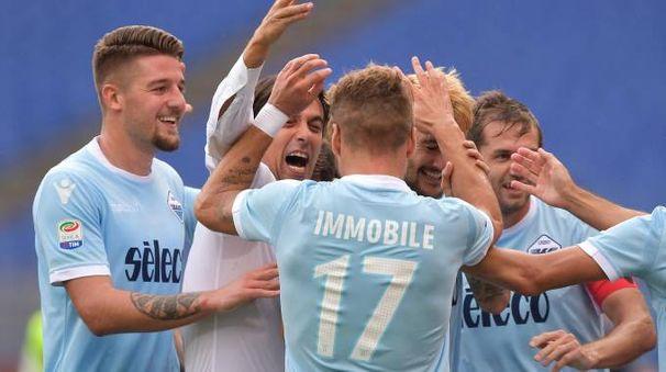 La Lazio festeggia dopo una rete segnata