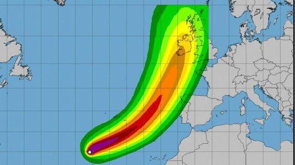 Il grafico relatico alla tempesta tropicale Ophelia, diventata uragano (Ansa)