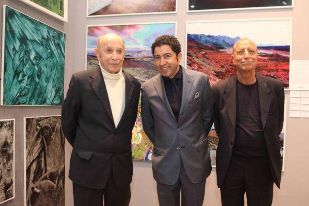 Francesco Alberoni, Salvo Nugnes, Pippo Franco  all'inaugurazione della  seconda edizione della Biennale di Milano