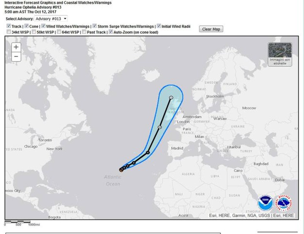 I grafici del del National Hurrican Center - Ansa