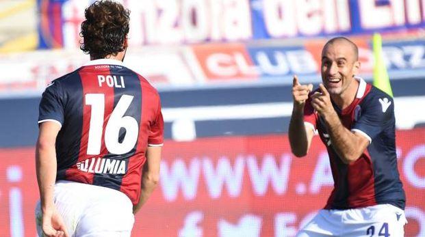 Bologna-Spal 2-1, l'esultanza di Poli e Palacio (FotoSchicchi)