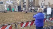 Piazza della Signoria e la stesura della sabbia per il set