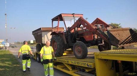 Il trattore coinvolto nell'incidente (Canali)