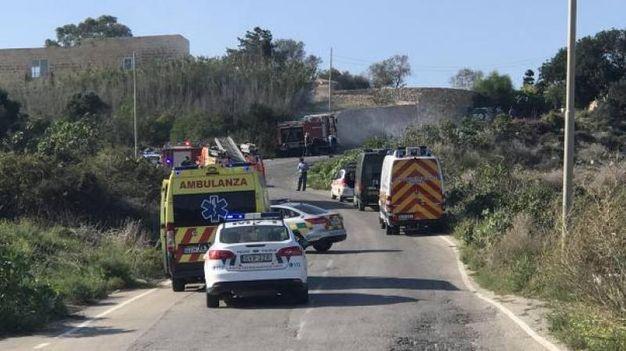 Il luogo dove è esplosa l'auto con a bordo la blogger Daphne Caruana Galizia (Ansa)