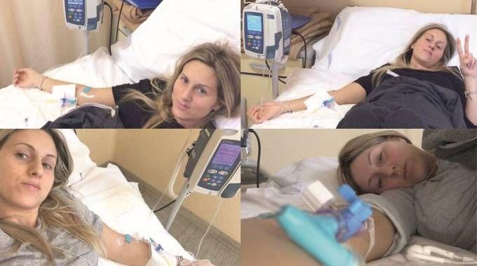 Jessica mentre era sottoposta alla chemioterapia (foto da Facebook)