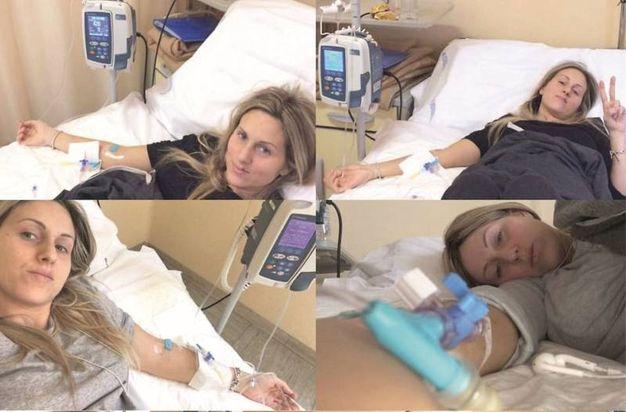 Jessica in ospedale mentre era sottoposta alla chemioterapia per sconfiggere il tumore
