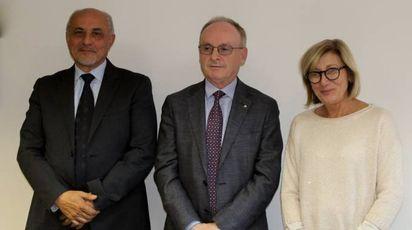 Da sinistra a destra: Amedeo Vasellini, il colonnello Carlo Corbinelli, Gloria Faragli