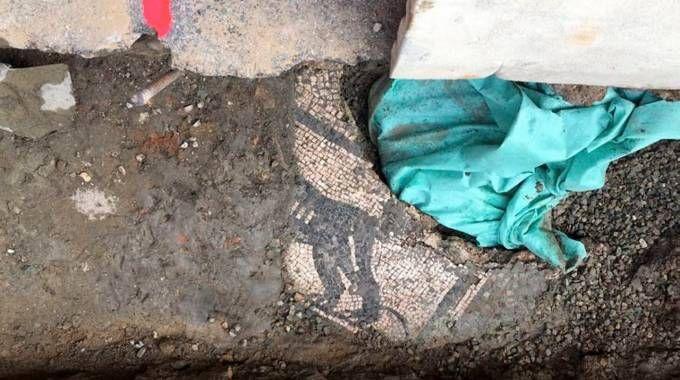 La parte di mosaico trovata in via Strinati