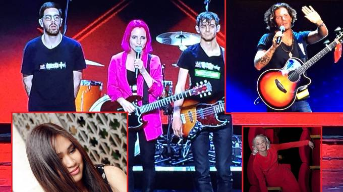 I Ros a X Factor; a destra Nigiotti, sotto Drusilla Foer. A sinistra, Camille Cabaltera