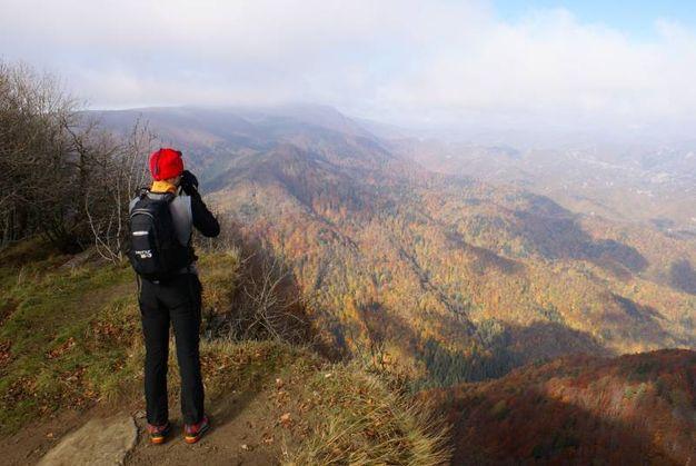 Tantissimi i visitatori e i fotografi che arrivano per ammirare il fall foliage, come avviene nei parchi americani (foto Nevio Agostini)