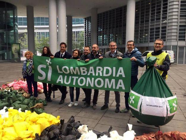 La manifestazione della Lega a sostegno del referendum (Ansa)