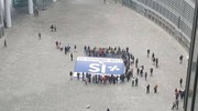 Sit-in della Lega Nord  in piazza Citta' di Lombardia (Dire)
