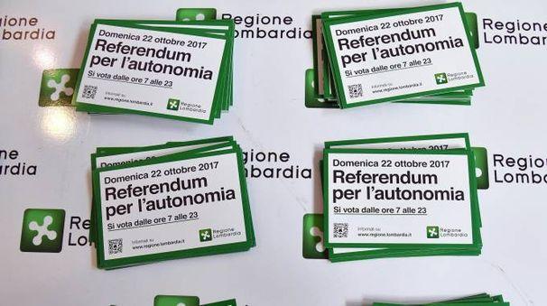 Volantini e cartelloni informativi sul referendum consultivo (Ansa)