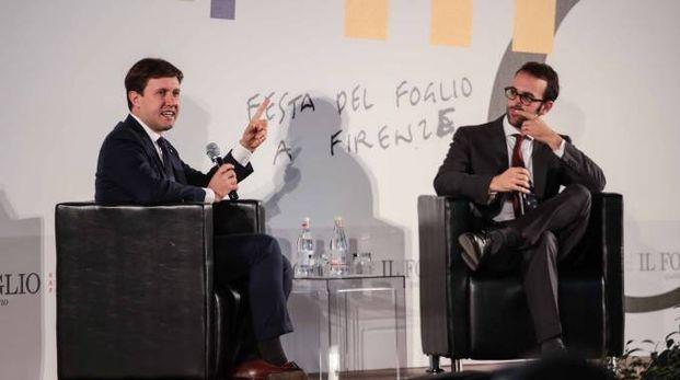 Nardella sul palco con il direttore del Foglio Cerasa (New Press Photo)