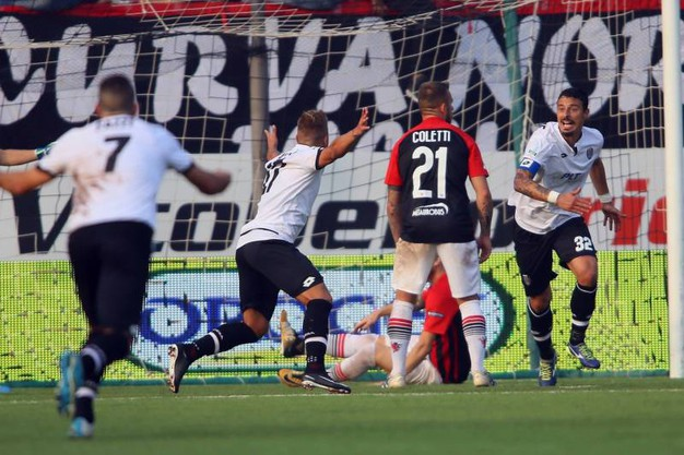 Il gol di Rigione al 45' s.t. (foto LaPresse)