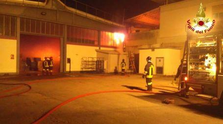 L'intervento dei vigili del fuoco ad Agliana