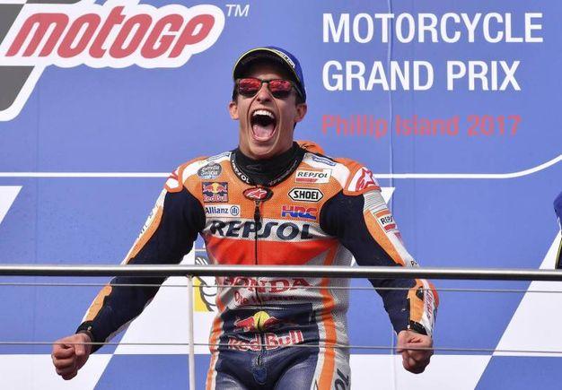 La gioia di Marc Marquez dopo la vittoria (Ansa)