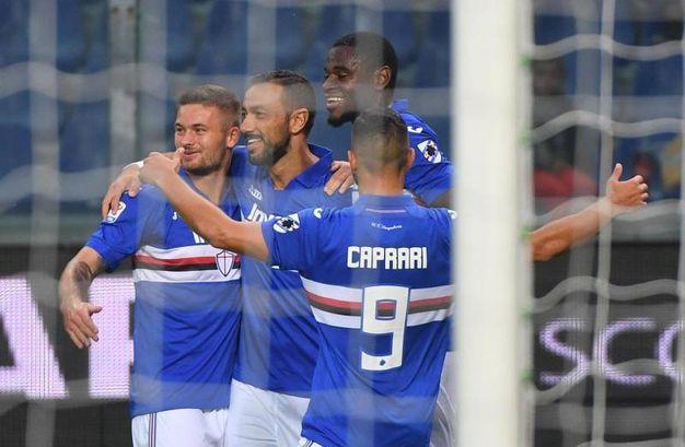Sampdoria-Crotone 2-0, Quagliarella rig. (Ansa)