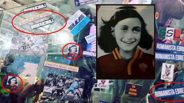Anna Frank con la maglia della Roma, e scritte antisemite nella Sud (combo Ansa)