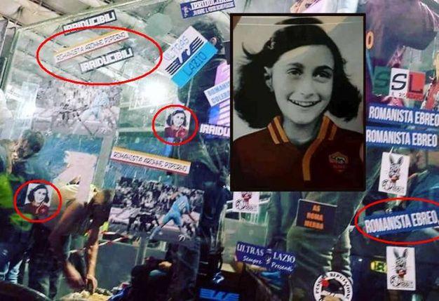 Gli adesivi con l'immagine di  Anna Frank con la maglia della Roma (combo Ansa)