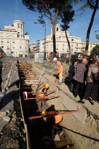 Gli scavi in piazzale della Vittoria a Forlì (foto Frasca)