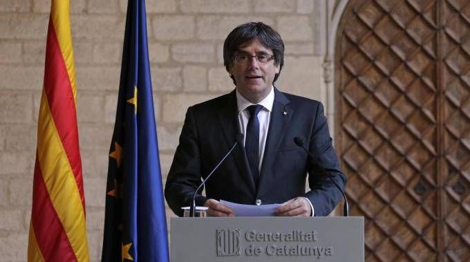 Il presidente catalano Carles Puigdemont (Ansa)