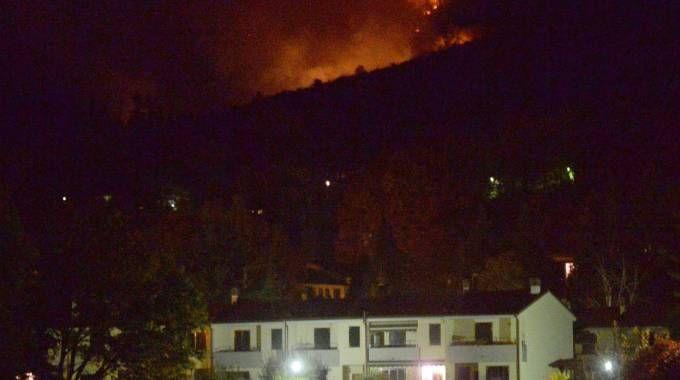 L'incendio vicino alle abitazioni (Newpress)