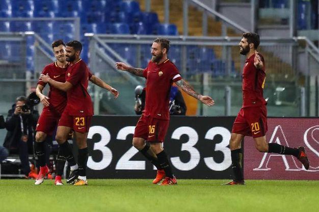 Roma-Bologna, il gol della Roma (foto Ansa)